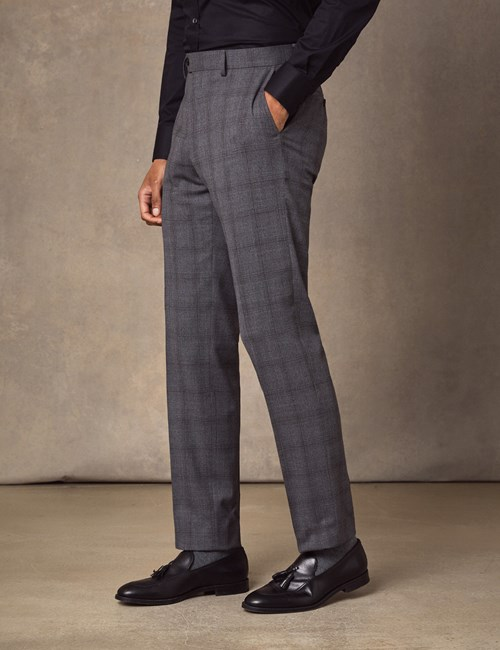 Men's Grey Tonal Plaid Slim Fit Suit Pants