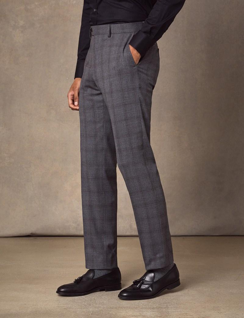 Anzughose - Slim Fit - Karo grau - Schurwollmischung - Ohne Bundfalte - Vorderhose Gefüttert - Ungesäumt