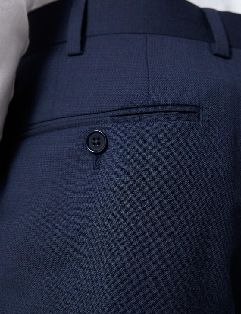 Men's Navy Tonal Plaid Slim Fit Suit Pants