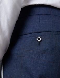 Anzughose - Slim Fit - Prince of Wales Karo blau & weinrot - 100s Wolle - Ohne Bundfalte - Vorderhose Gefüttert - Ungesäumt