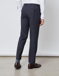 Anzughose - Slim Fit - Prince of Wales Karo anthrazit & blau - 100s Wolle - Ohne Bundfalte - Vorderhose Gefüttert - Ungesäumt