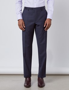 Men's Navy & Brown Windowpane Check Classic Fit Suit Trousers
