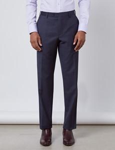 Men's Navy & Brown Windowpane Plaid Classic Fit Suit Pants