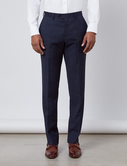 Men's Navy & Brown Windowpane Plaid Slim Fit Suit Pants
