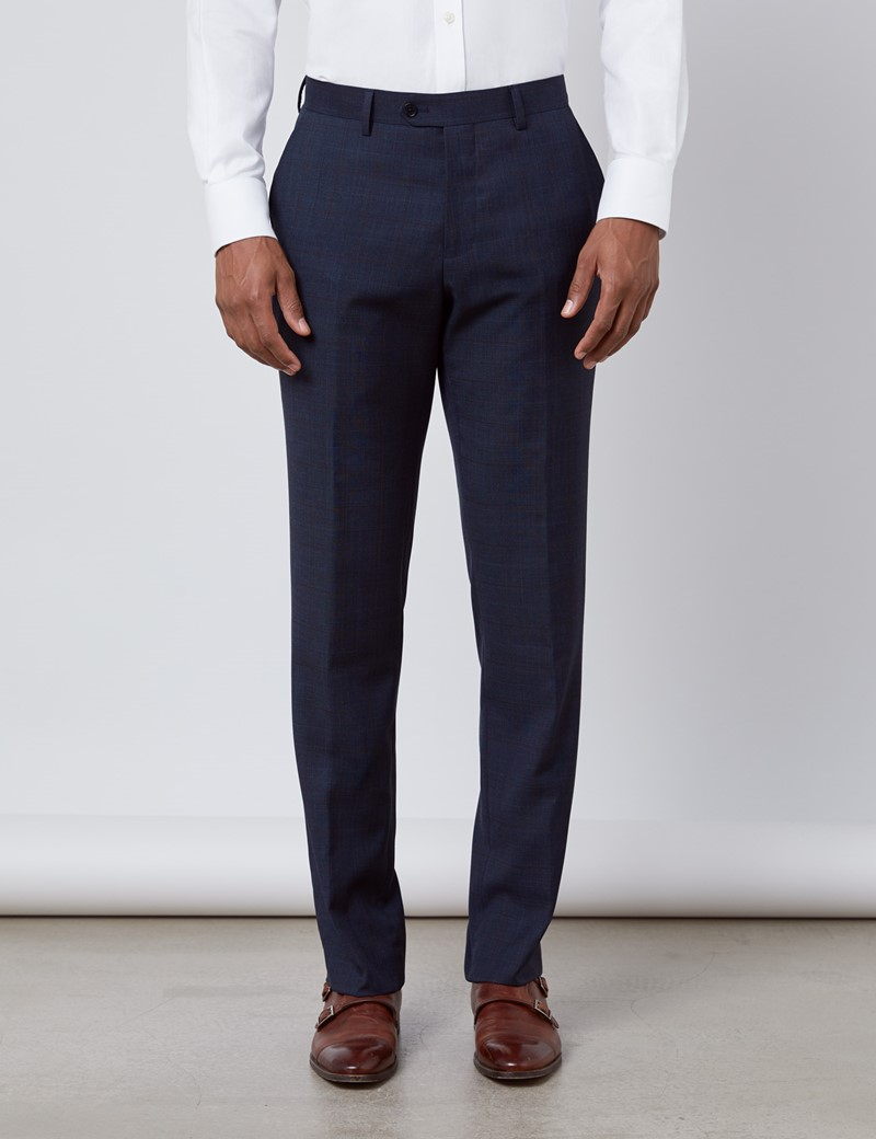 Anzughose - Slim Fit - Windowpane-Muster navy - 100s Wolle  - Ungesäumt