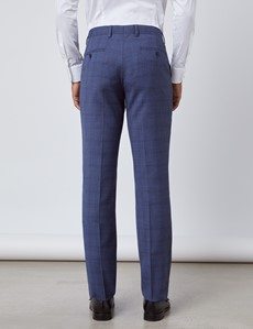 Men's Blue Overcheck Slim Fit Suit Trousers