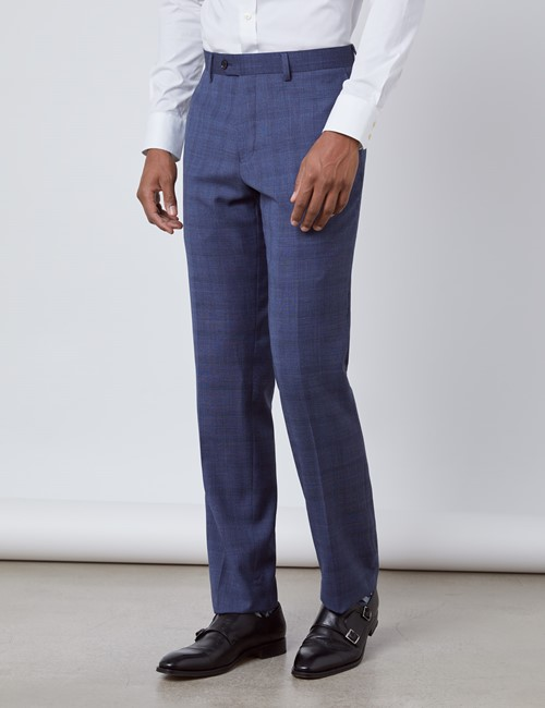 Men's Blue Overplaid Slim Fit Suit Pants