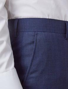 Men's Blue & Brown Overcheck Slim Fit Suit Trousers