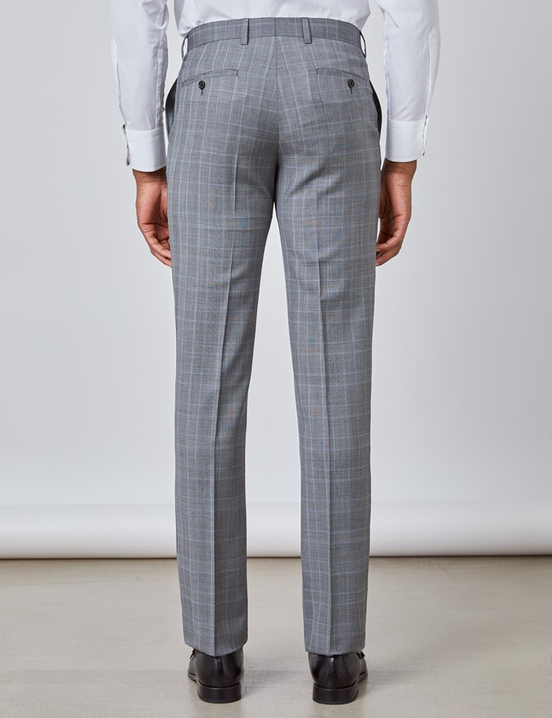 Men's Grey & Light Blue Prince Of Wales Plaid Slim Fit Suit Pants