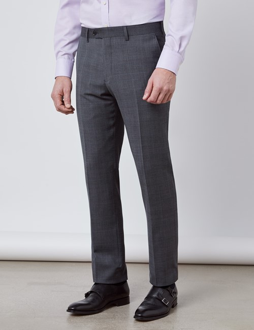 Men's Charcoal & Blue Prince Of Wales Check Slim Fit Suit Trousers