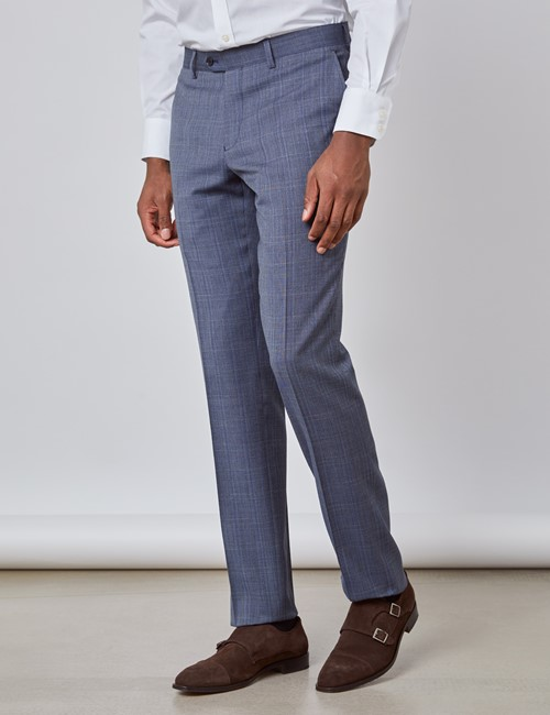Men's Blue Tonal Check Slim Fit Suit Trousers