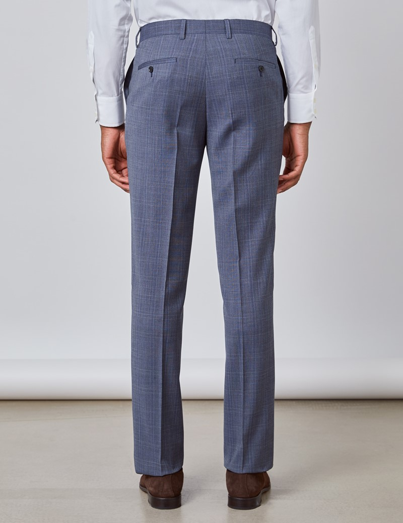 Men's Blue Tonal Plaid Slim Fit Suit Pants