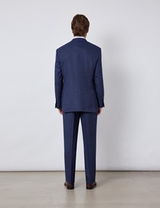 Men's Blue & Red Prince Of Wales Check Classic Fit Suit Trousers
