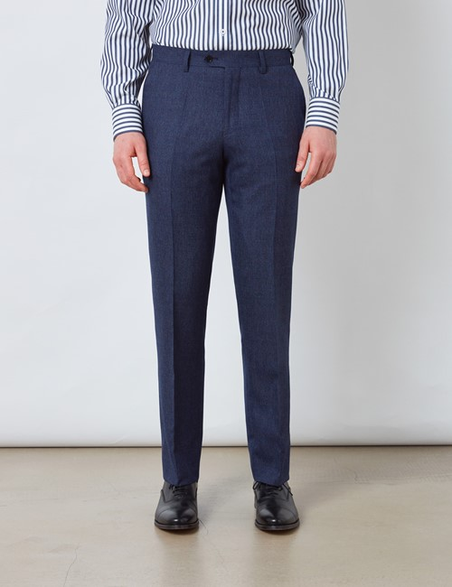 Men's Blue & Red Prince of Wales Check Slim Fit Suit Trousers