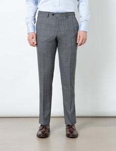 Men's Grey Tonal Check Slim Fit Suit Trousers