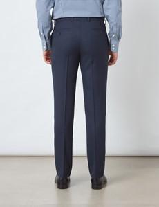 Men's Navy & Brown Check Slim Fit Suit Trousers