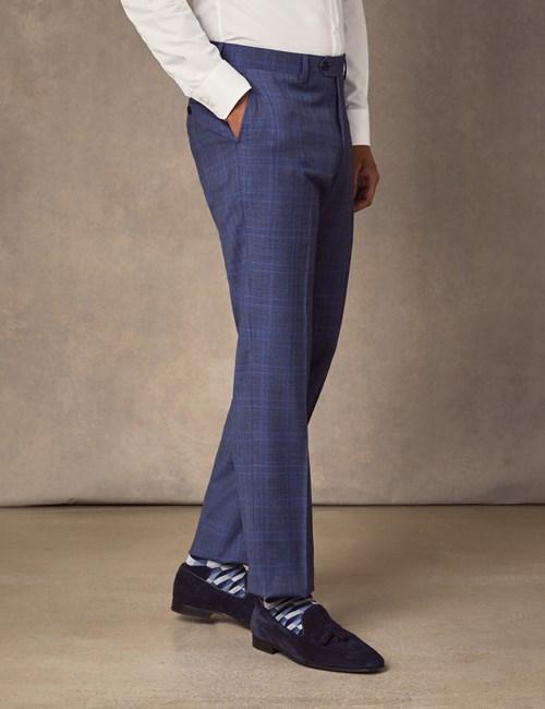 Men's Blue Two Tone Check Slim Fit Suit Trousers