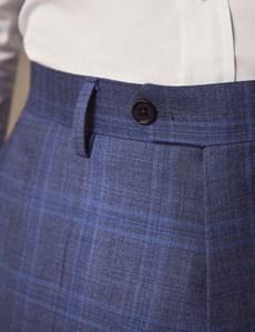 Anzughose - Slim Fit - Schieferblau kariert - 100s Wolle - Ohne Bundfalte - Vorderhose gefüttert - Ungesäumt