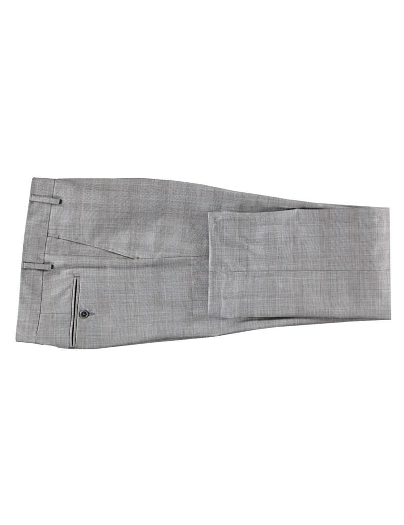 Anzughose - Slim Fit - Prince of Wales Karo grau - 140s Wolle - ohne Bundfalte - Vorderhose gefüttert - ungesäumt