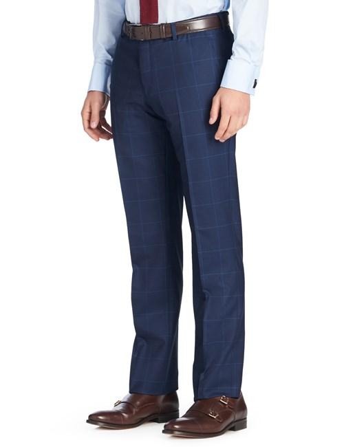 Anzughose - Slim Fit - Prince of Wales Karo dunkelblau - 140s Wolle - ohne Bundfalte - Vorderhose gefüttert - ungesäumt