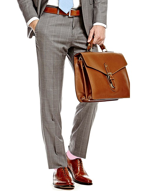 Men's Grey & White Windowpane Check Slim Fit Suit Trousers
