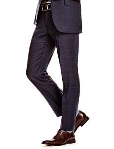 Men's Navy & Blue Windowpane Plaid Slim Fit Pants