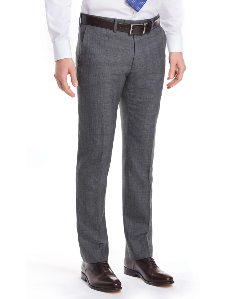 Men's Grey & Navy Prince of Wales Check Extra Slim Fit Pants