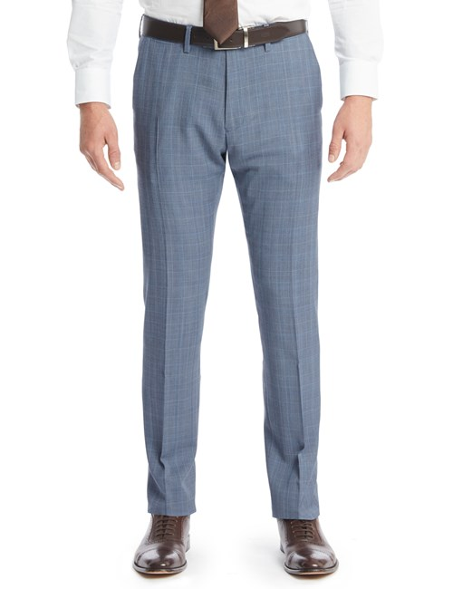 Men's Light Blue Prince Of Wales Check Extra Slim Fit Suit Trousers