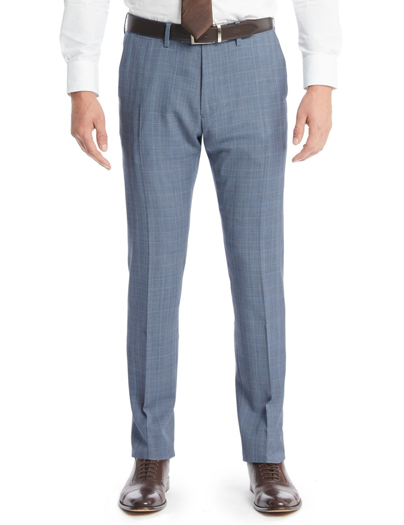7c73b68e Men's Light Blue Prince Of Wales Check Extra Slim Fit Suit Trousers