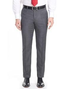 Men's Charcoal Grey Windowpane Plaid Slim Fit Pants