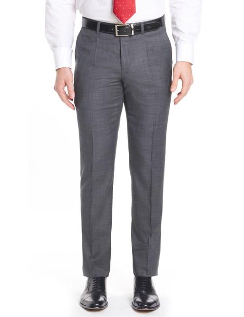Anzughose - Slim Fit - Schiefergrau mit Gitterkaro - 120s Wolle - Ohne Bundfalte - Vorderhose gefüttert - Ungesäumt