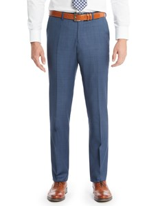Men's Blue Double Plaid Slim Fit Suit Pants