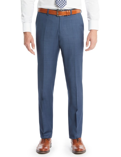 Men's Blue Double Check Slim Fit Suit Trousers