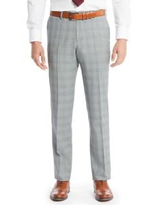 Men's Grey & Light Blue Prince Of Wales Check Slim Fit Suit Pants