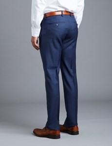 Men's Royal Blue Prince Of Wales Tonal Check Extra Slim Fit Suit Pants