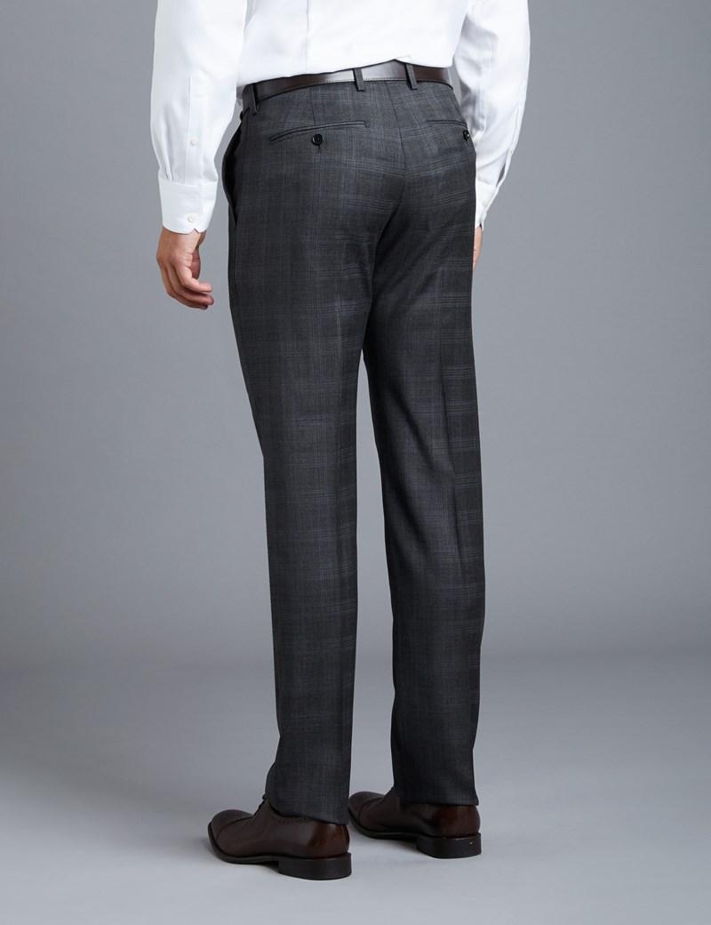 Men's Grey & Blue Large Plaid Extra Slim Fit Suit Pants