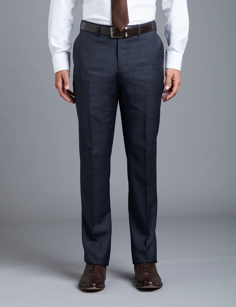 Men's Blue Textured Tonal Check Slim Fit Suit Pants