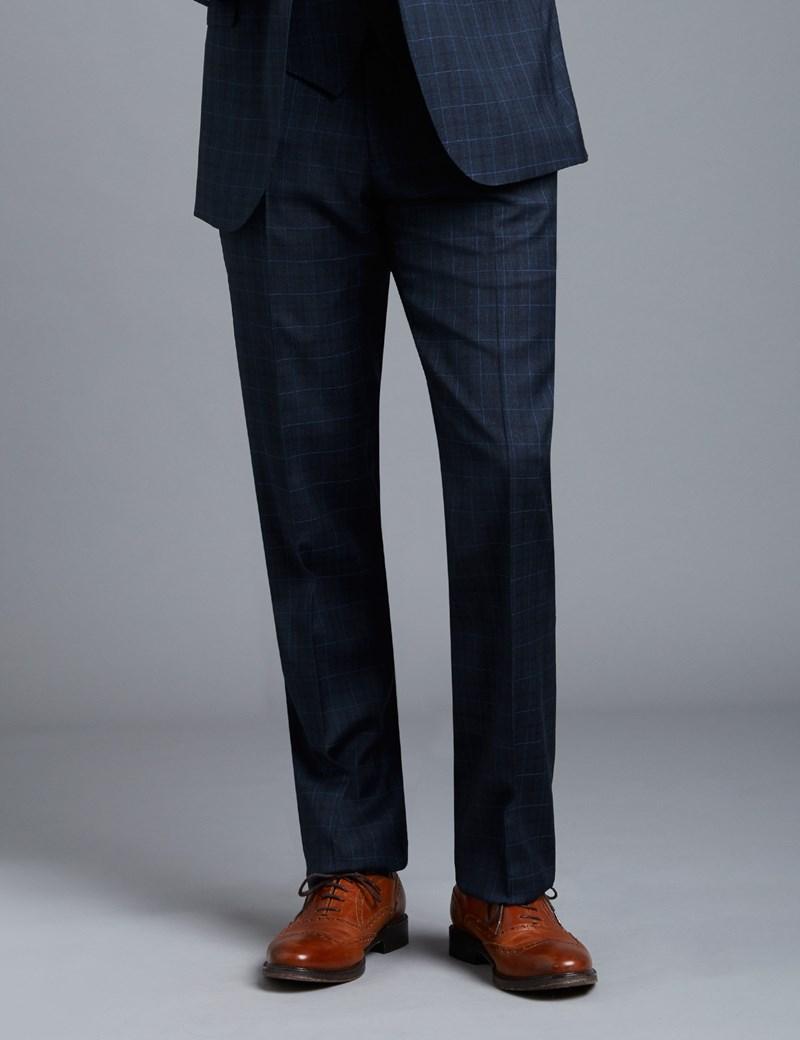 Men's Navy & Blue Big Overcheck Slim Fit Suit Pants