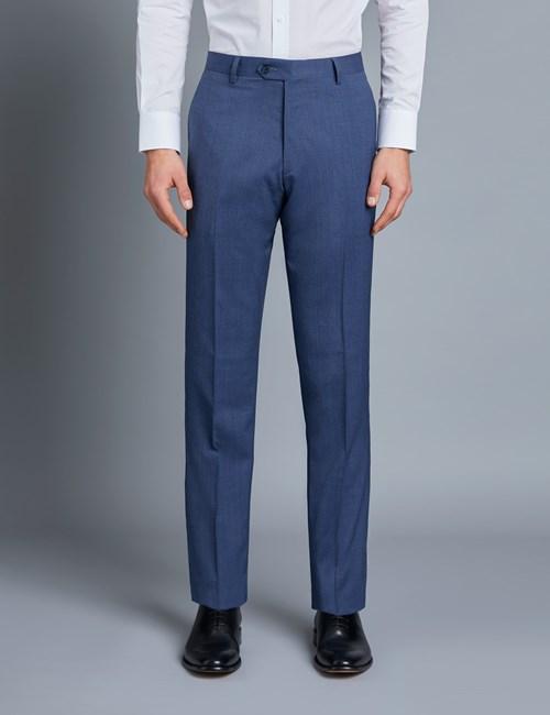 Men's Blue Pique Tailored Fit Italian Suit Pants – 1913 Collection