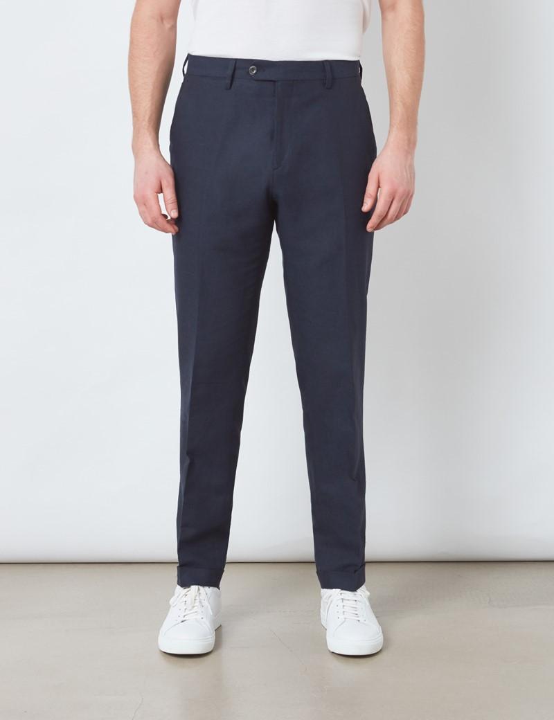 Men's Navy Italian Cotton Linen Slim Fit Suit Trousers - 1913 Collection