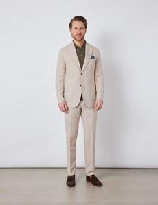 Men's Stone Italian Cotton Linen Slim Fit Suit Trousers - 1913 Collection