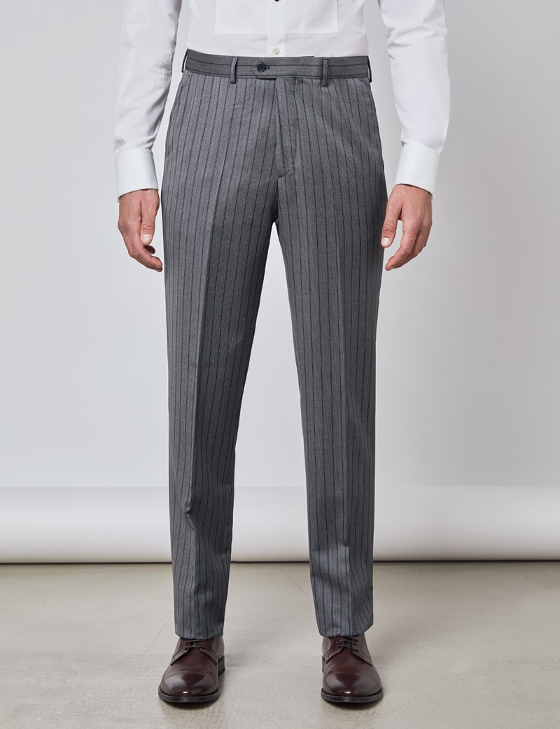 Men's Gray Striped Italian Wool Morning Suit Pants – 1913 Collection