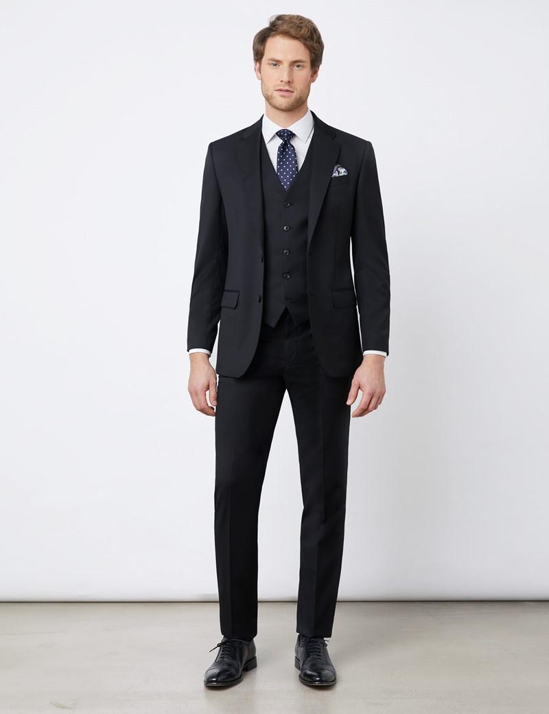 Anzughose - Tailored Fit - schwarz - 100s Wolle - Ungesäumt