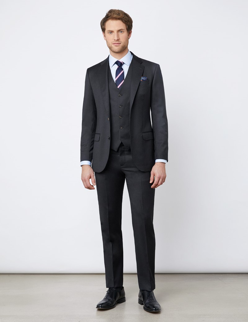 Anzughose – Tailored Fit – anthrazit – 110s Wolle – Ohne Bundfalte – Ungesäumt