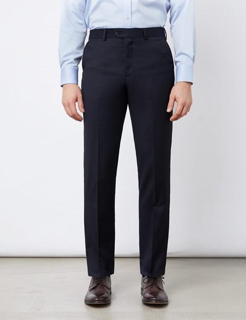Anzughose - Tailored Fit - navy - 100s Wolle - Ungesäumt