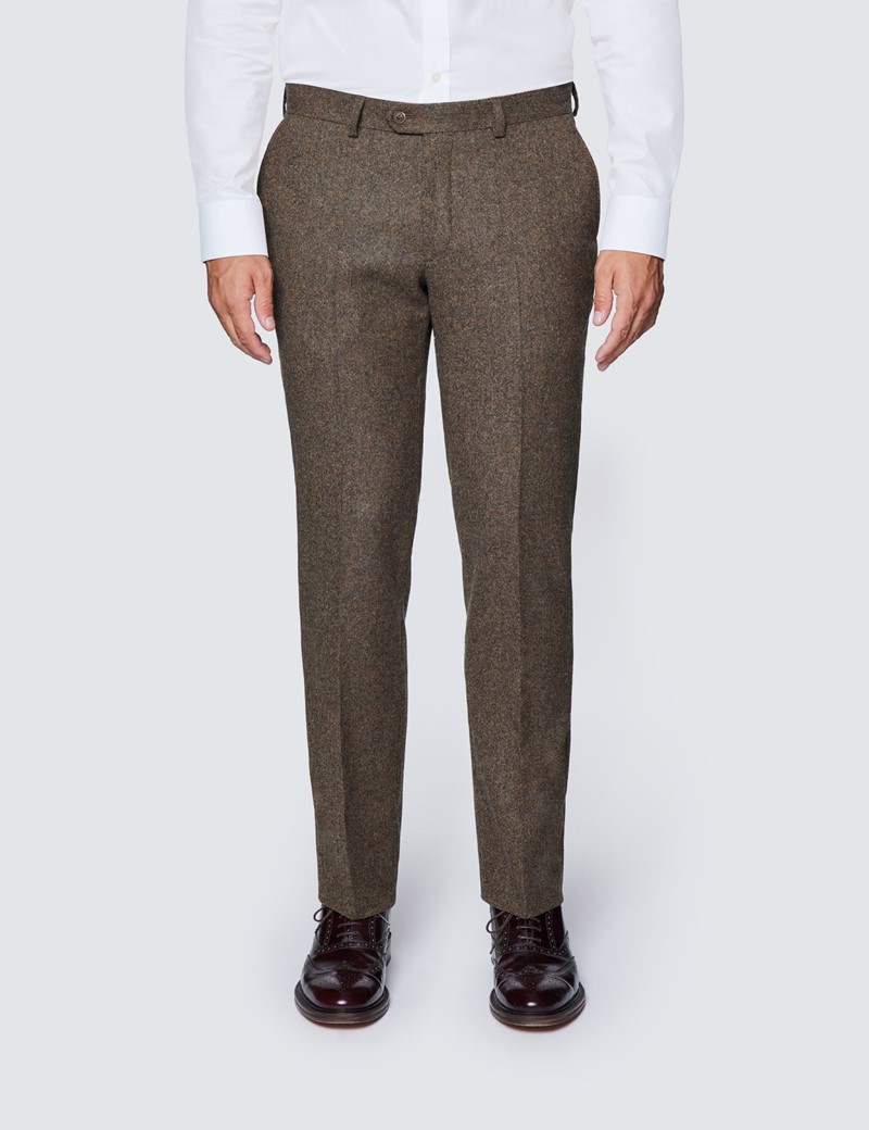 Men's Brown Tweed Slim Fit Suit Trousers - 1913 Collection