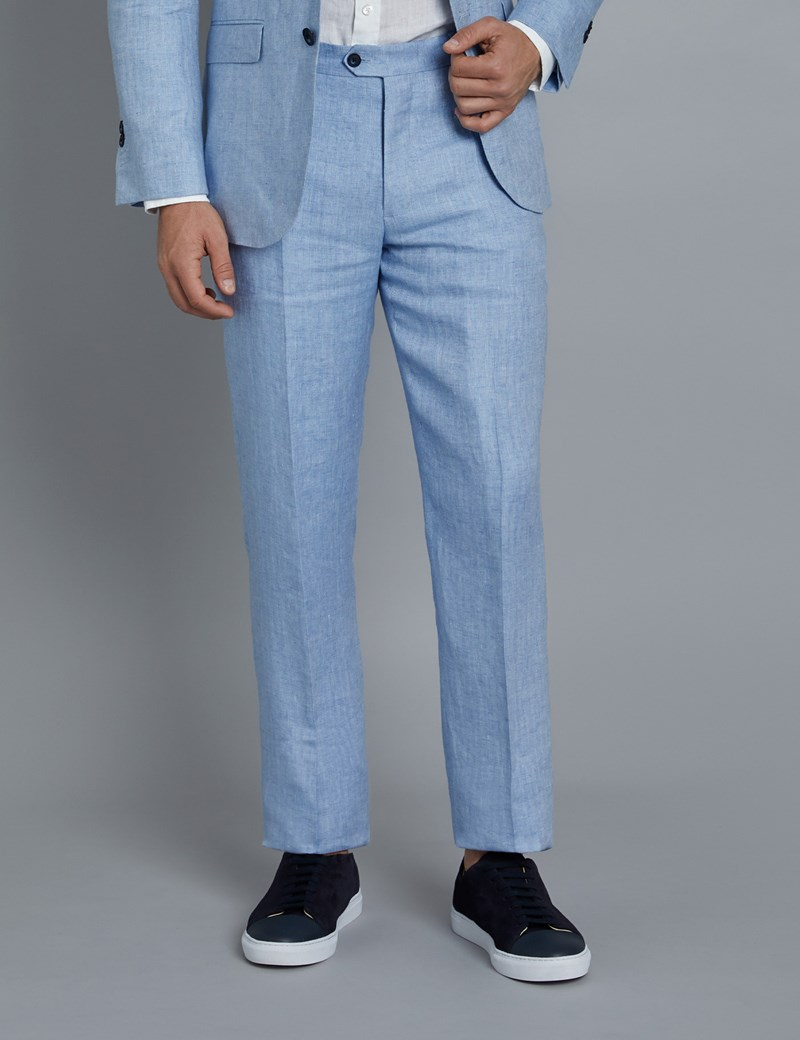 Men's Light Blue Herringbone Linen Tailored Fit Italian Suit Trousers- 1913 Collection