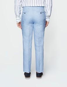 Men's Light Blue Herringbone Linen Tailored Fit Italian Suit Trousers- 1913 Collection
