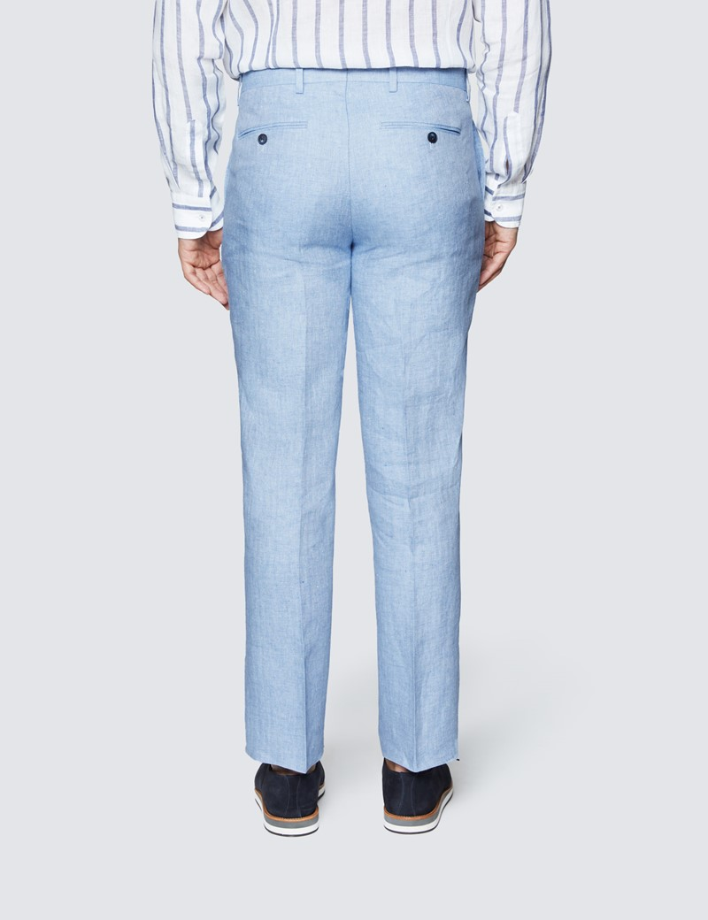 Leinenhose – Tailored Fit – ungesäumt – ohne Bundfalte – Hellblau