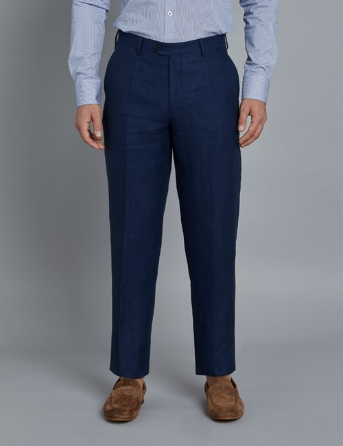 Men's Royal Blue  Herringbone Tailored Fit Linen Pants – 1913 Collection